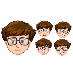 man with five different facial expressions vector image vector image