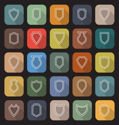 Shield line flat icons with long shadow vector image