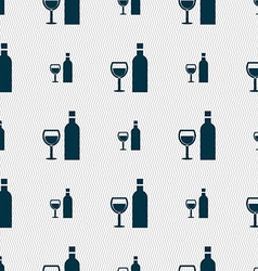 Wine Icon sign Seamless pattern with geometric vector image vector image