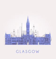 glasgow skyline with landmarks vector image