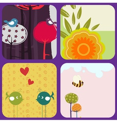 greeting cards with retrostyle birds and trees vector image