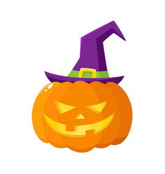 jack o lantern pumpkin in pointed witch hat vector image