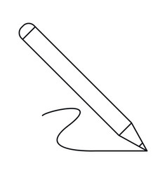 pencil write wooden tool office outline vector image