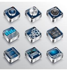 set of universal media icons 3d Cinema symbols vector image