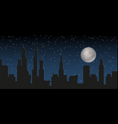 silhouette of the city and night with stars and vector image