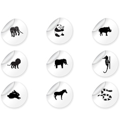Stickers with animal icons 3 vector image vector image