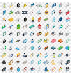 100 telephone icons set isometric 3d style vector
