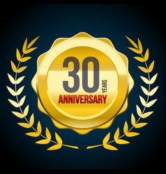 30 years anniversary gold and red badge logo vector image
