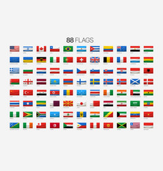 88 national flags with names vector image