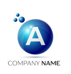 A letter splash logo blue dots and circle bubble vector