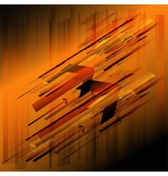 Abstract retro technology lines orange background vector