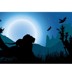 African night background lion has a rest under the vector image