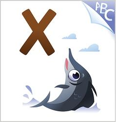 Animal alphabet for kids x for xiphias vector