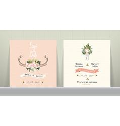 antler flowers rustic wedding save date vector image