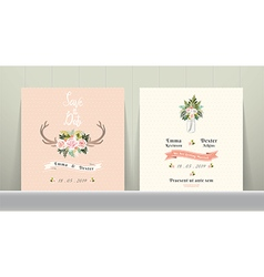 Antler flowers rustic wedding save the date vector image