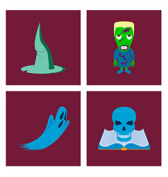 Assembly flat witch hat monster ghost vector