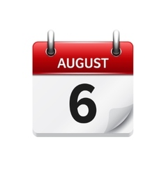 August 6 flat daily calendar icon Date vector image