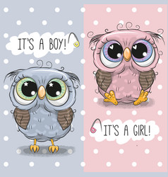 Baby shower greeting card with cute owls vector
