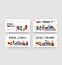 Baggage claim in airport landing page template set vector