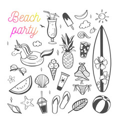 Big set summer design doodle elements vector