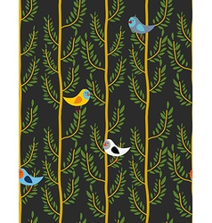 Birds on trees seamless pattern background of vector image