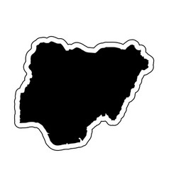 black silhouette of the country nigeria with the vector image