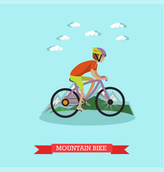 Boy riding mountain bike in vector
