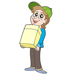 Boy with paper box vector