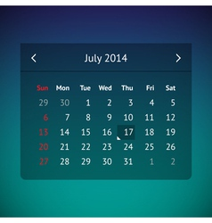 Calendar page for July 2014 vector image