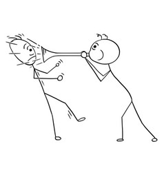 Cartoon man using horn to play sound against vector