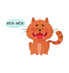 Cat sitting with open mouth making meow sound vector