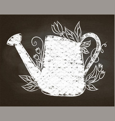 Chalk silhouette of can with leaves and flowers vector