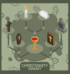 christianity isometric concept icons vector image