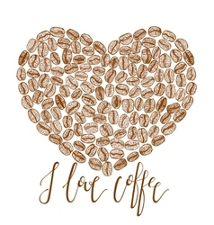 Coffee heart with lettering vector