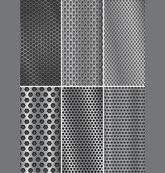 Collection of metal backgrounds perforated steel vector
