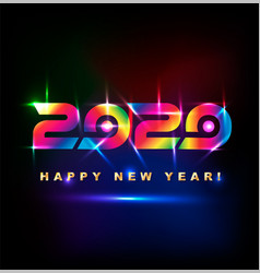 colored happy new year 2020 with spotlight effect vector image