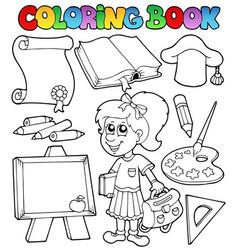 Coloring book school topic 2 vector