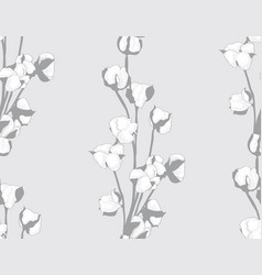 cotton flower hand drawn seamless vector image