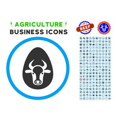 Cow egg rounded icon with set vector