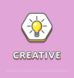 creative colour icon with light bulb vector image