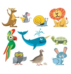 Cute animals set in cartoon style vector image
