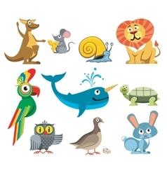 Cute animals set in cartoon style vector image