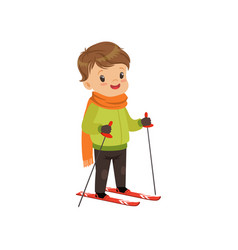 cute boy skiing winter sport and outdoor activity vector image
