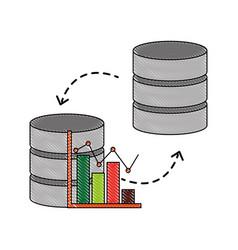 database center statistics graph transfer data vector image
