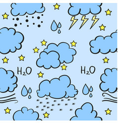 Doodle of weather cloud style set vector
