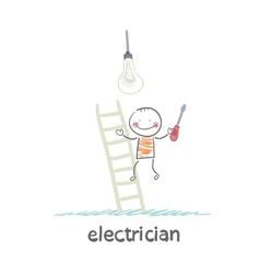 Electrical checks on the stairs bulb vector