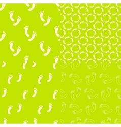 Feet seamless pattern and background set Foot vector