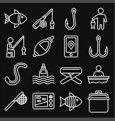 fishing icons set on black background line style vector image