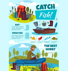 fishing sport poster with fisherman equipment vector image