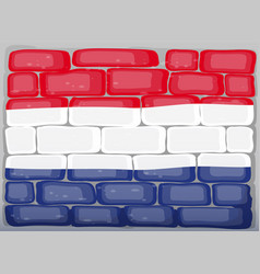 Flag of netherland painted on brickwall vector